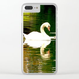 Swan Color Waves Clear iPhone Case