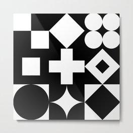 Geometric Black & White Metal Print