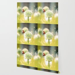 Allium fantasy flowers with butterfly Wallpaper