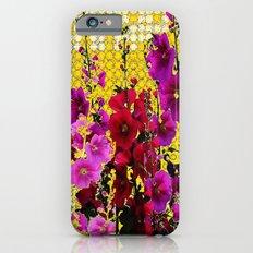 ARTISTIC PINK-REDS-PURPLE HOLLYHOCK GARDEN iPhone 6s Slim Case