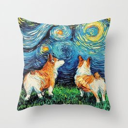 Corgi in Starry Night Throw Pillow