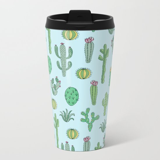 Cactus Pattern Light Blue Metal Travel Mug