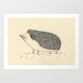 Monochrome Hedgehog Art Print