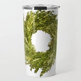 Box wood wreath round circle holiday celebrate Travel Mug