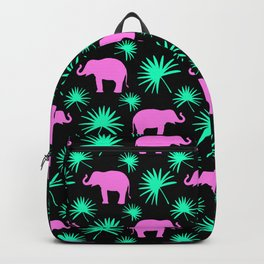 Wild African pink little elephant silhouettes and bright green exotic tropical leaves black pattern. Backpack
