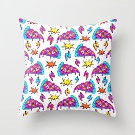 Crazy space alien pizza attack! Throw Pillow