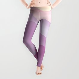 Dreamy Candy Hand-painted Watercolor Mountains, Abstract Foggy Mountain Landscape in Purples and Peachy Color  Leggings