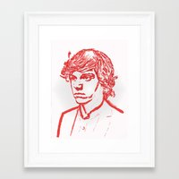 evan peters Framed Art Prints featuring Evan Peters from American Horror Story in Red by JennFolds5 * Jennifer Delamar-Goss