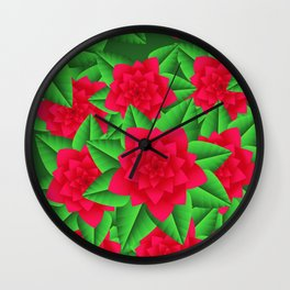 Dark Red Camellias and Green Leaves Wall Clock