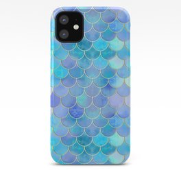 Aqua Pearlescent & Gold Mermaid Scale Pattern iPhone Case