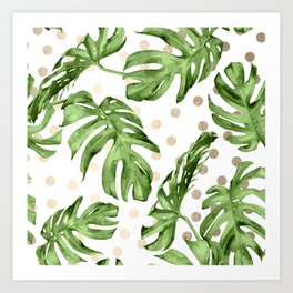 Simply Tropical White Gold Sands Dots and Palm Leaves Art Print