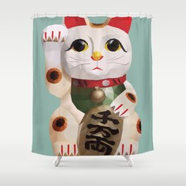 Maneki Neko (Fortune Cat) Polygon Art Shower Curtain