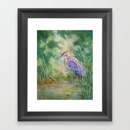 """Solitude"" - Pastel of Great Blue Heron Framed Art Print"