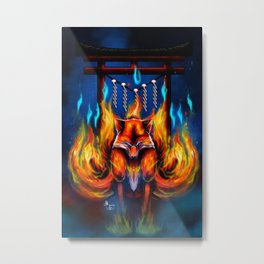 9 Tails Fire Fox Metal Print