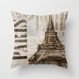 Vintage Paris eiffel tower illustration Throw Pillow