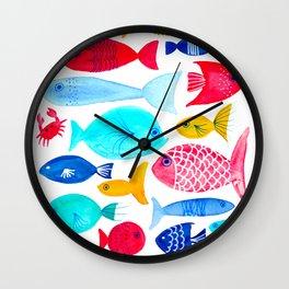 Fish Pattern - Ocean - Nautical - Sea - Swim - Crabs - Summer Wall Clock