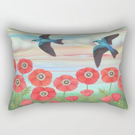 tree swallows and poppies Rectangular Pillow