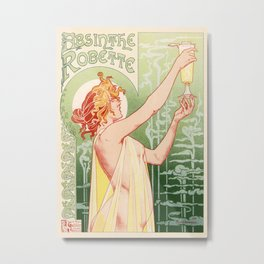Absinthe Robette 1896 by Henri Privat Livemont Art Nouveau Vintage Poster 1896 Artwork for Prints Po Metal Print