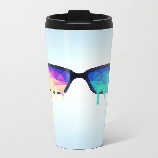 Psychedelic Nerd Glasses with Melting LSD/Trippy Color Triangles Metal Travel Mug