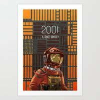 2001 a space odyssey Art Prints featuring 2001: A Space Odyssey by Temescu Illustration