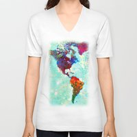 map V-neck T-shirts featuring Abstract Watercolor World Map by Gary Grayson