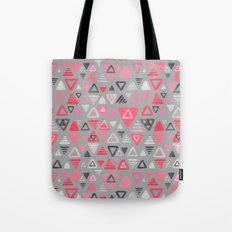 Summer Melon Hot Pink Triangles on Grey Tote Bag