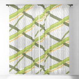 Deco Stripes Avacado Sheer Curtain