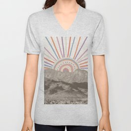 Bohemian Tribal Sun / Abstract Vintage Mountain Happy Summer Vibes Retro Colorful Pastel Sky Artwork Unisex V-Neck