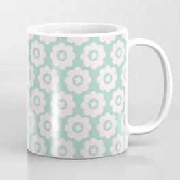 Duck Egg Blue Retro Floral Coffee Mug