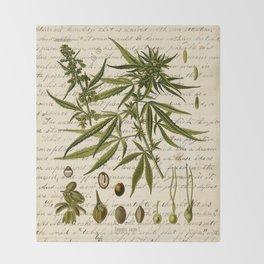 Marijuana Cannabis Botanical on Antique Journal Page Throw Blanket