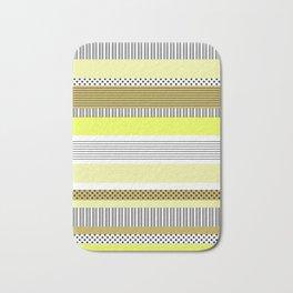 Yellow Mixed Pattern Color blocking Striped Bath Mat