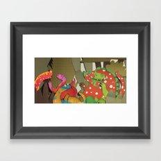Dinosaur Paint Party Framed Art Print