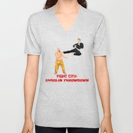 Fight City: Shaolin Throwdown (Flying Kick) Unisex V-Neck