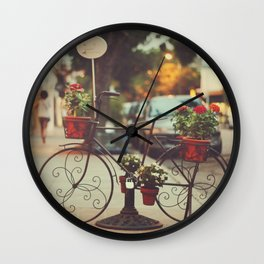 The bike with the flowers Wall Clock