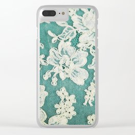 white lace - photo of vintage white lace Clear iPhone Case