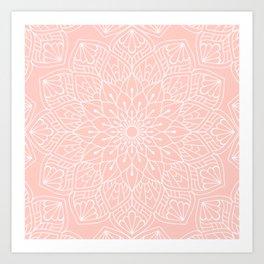 White Mandala Pattern on Rose Pink Art Print