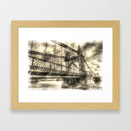 Hammersmith Bridge London Vintage Framed Art Print