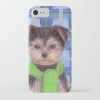 yorkie iPhone & iPod Cases featuring Yorkie Poo in Scarf  by KAZUMI
