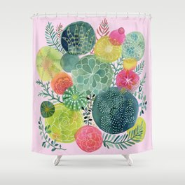 Succulent Circles on Pink Shower Curtain
