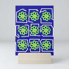Abstract Green Blossoms on Blue Mini Art Print