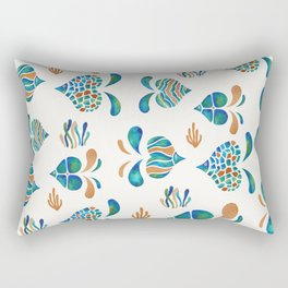 Cute abstract fish with metallic copper accents Rectangular Pillow