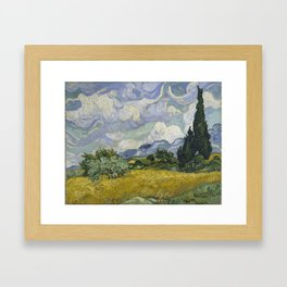 Wheatfield with Cypresses Framed Art Print
