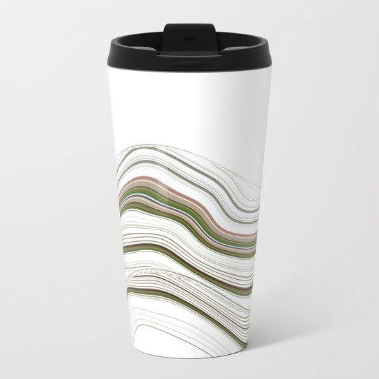 Green Strata Auto Portrait Pattern Metal Travel Mug