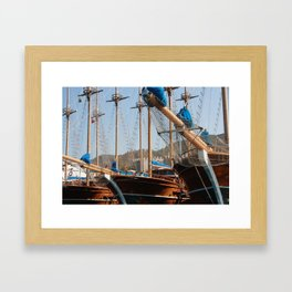 Gulets Lining The Harbour Infront of Marmaris Castle Framed Art Print