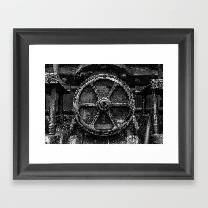 Trivial Pursuits Steam Train Detail Abstract Vintage Railroad Photography Black and White Gerahmter Kunstdruck