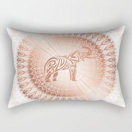 Rose Gold Elephant Mandala Rectangular Pillow
