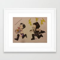 wwe Framed Art Prints featuring WWE CM Punk Steals Undertakers Urn by Juui-Chan