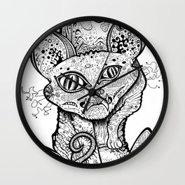 MAD BALD CAT Wall Clock