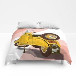 Vespa Vector yellow Comforters