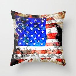 Extreme Grunge American Flag Throw Pillow